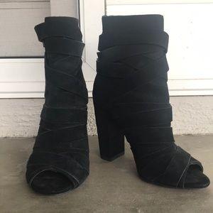 Aldo black suede heeled tie booties sz 6.5
